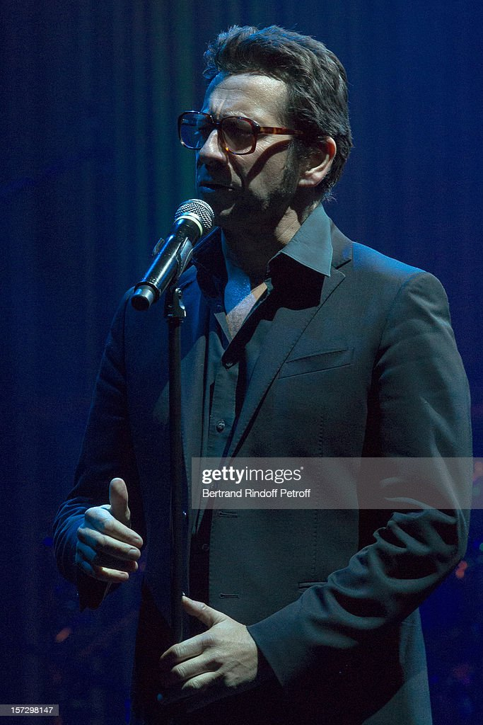 French impersonator Laurent Gerra imitates singer Serge Reggiani during his One Man Show at Palais des Congres on November 29, 2012 in Paris, France.