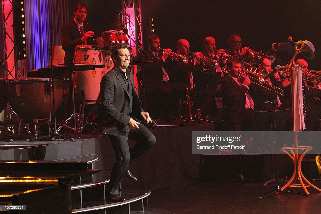 French impersonator Laurent Gerra on stage during his One Man Show at Palais des Congres on November 29, 2012 in Paris, France.