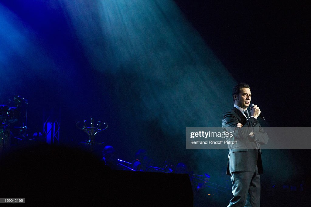 French impersonator Laurent Gerra performs during his one man show at Olympia hall on January 5, 2013 in Paris, France.
