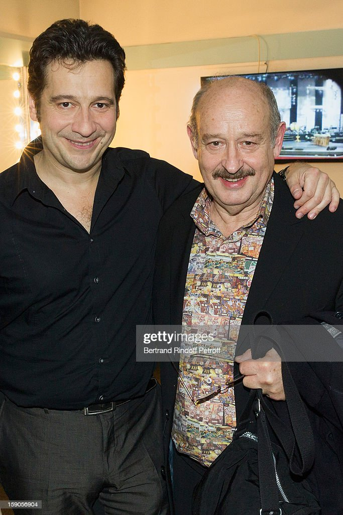 French impersonator Laurent Gerra (L) poses in his dressing room with Michel Jonasz following his one man show at Olympia hall on January 3, 2013 in Paris, France.