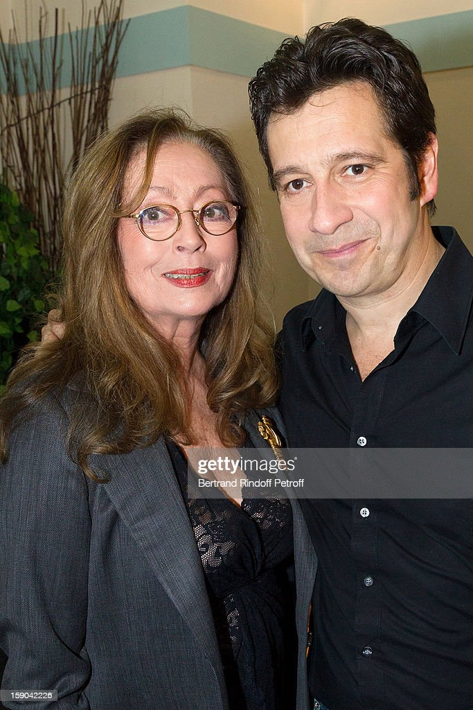 French impersonator Laurent Gerra (R) poses with Claudine Coster prior to Gerra's one man show of at Olympia hall on January 4, 2013 in Paris, France.