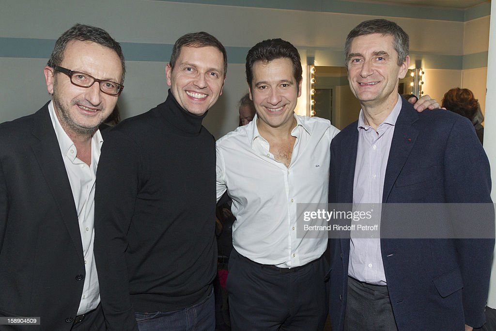 French impersonator <a gi-track='captionPersonalityLinkClicked' href=/galleries/search?phrase=Laurent+Gerra&family=editorial&specificpeople=538435 ng-click='$event.stopPropagation()'>Laurent Gerra</a> (3rd L) poses with (L-R) Jacques Expert, Thomas Hugues and <a gi-track='captionPersonalityLinkClicked' href=/galleries/search?phrase=Frederic+Pechenard&family=editorial&specificpeople=4380379 ng-click='$event.stopPropagation()'>Frederic Pechenard</a> following Gerra's one man show at Olympia hall on December 18, 2012 in Paris, France.