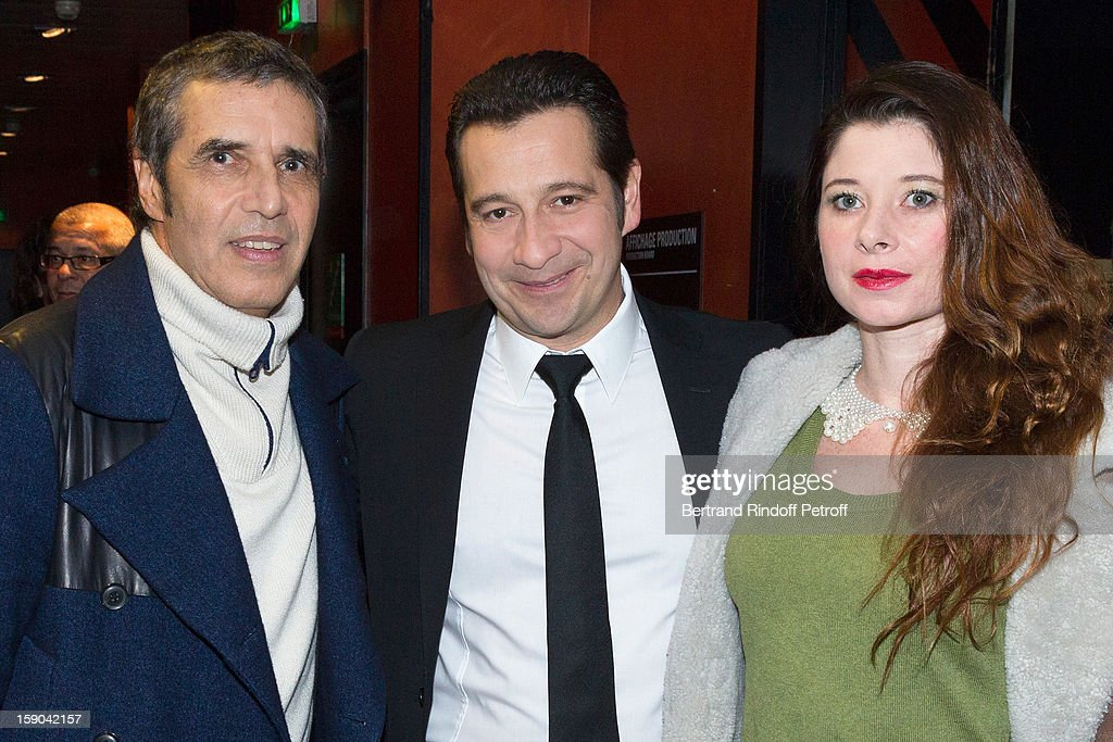 French impersonator Laurent Gerra (C) poses with Julien Clerc (L) and Clerc's wife Helene prior to Gerra's one man show of at Olympia hall on January 5, 2013 in Paris, France.