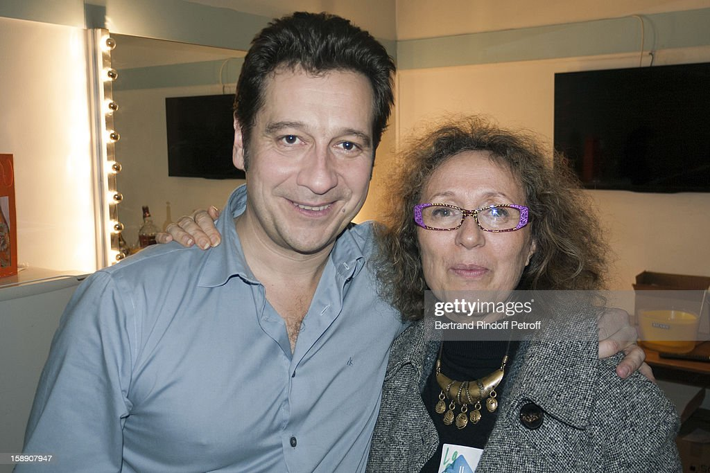 French impersonator Laurent Gerra (L) poses with Mireille Dumas following his one man show at Olympia hall on December 27, 2012 in Paris, France.