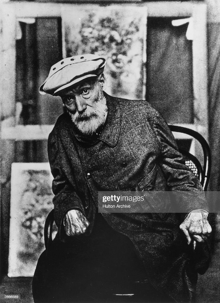 French Impressionist painter Pierre <a gi-track='captionPersonalityLinkClicked' href=/galleries/search?phrase=Auguste+Renoir&family=editorial&specificpeople=117768 ng-click='$event.stopPropagation()'>Auguste Renoir</a> (1841 - 1919) at his home Les Collettes at Cagnes, near Nice.