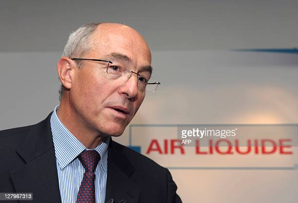 French industrial gas group Air Liquide chief executive Benoit Potier gives a press conference during a presentation of Hydrogen electric cars in...