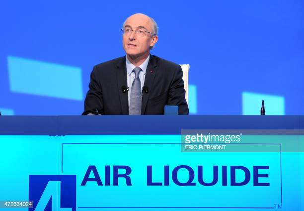 French industrial gases group Air Liquide's Chairman and CEO Benoit Potier addresses the group's general meeting in Paris on May 6 2015 AFP PHOTO /...