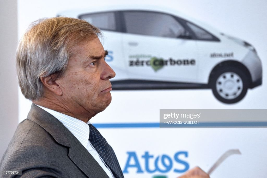 French industrial group Bollore's head Vincent Bollore looks on during a joint press conference with the CEO of the IT services company Atos, on December 6, 2012 in Bezons, north of Paris, to announce the launching of My Car, the first Atos electric car fleet powered by solar panels.