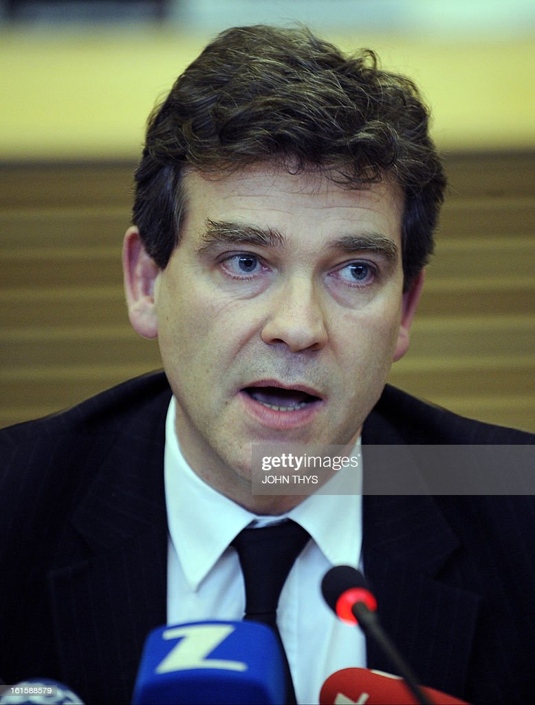 French Industrial Renewal Minister Arnaud Montebourg gives a press conference on February 12, 2013 after a roundtable on steel – a platform for dialog between industry, trade unions and the European Commission -- with at EU headquarters in Brussels.