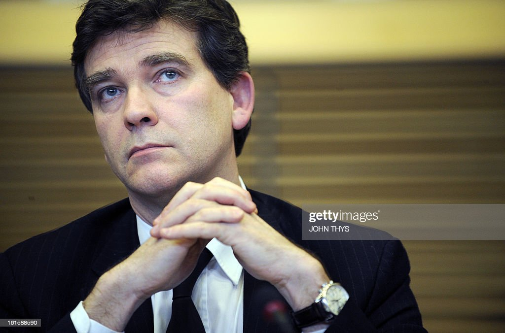 French Industrial Renewal Minister Arnaud Montebourg gives a press conference on February 12, 2013 after a roundtable on steel – a platform for dialog between industry, trade unions and the European Commission -- at EU headquarters in Brussels. AFP PHOTO / JOHN THYS