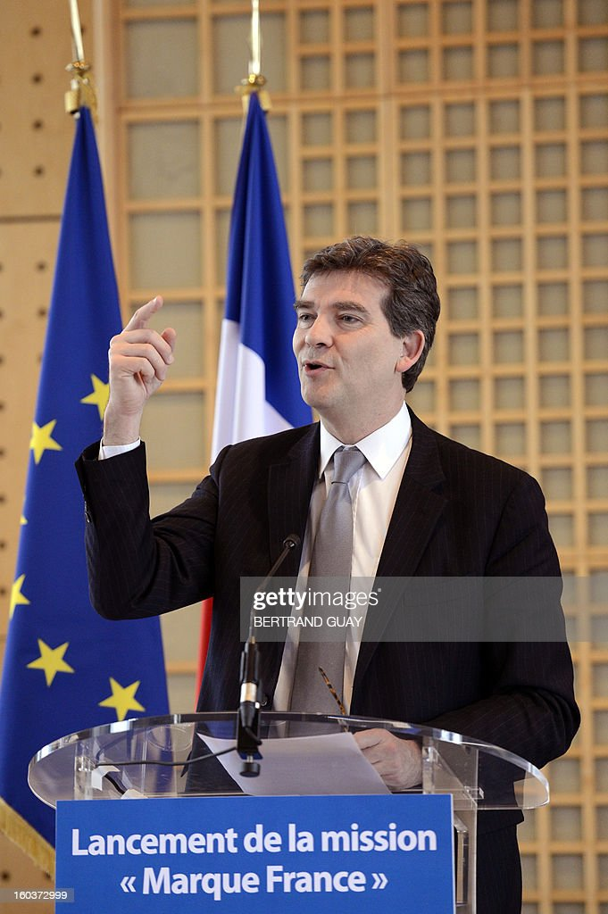 French Industrial Renewal Minister Arnaud Montebourg talks on January 30, 2013 during a press conference in Paris for the launch of the 'Brand France'. Montebourg, a strong critic of the way France has opened its markets to globalisation and free trade, is pushing a campaign for consumers to buy local goods and encourage supermarkets to create sections of floor space solely for 'Made in France' products. AFP PHOTO/ BERTRAND GUAY