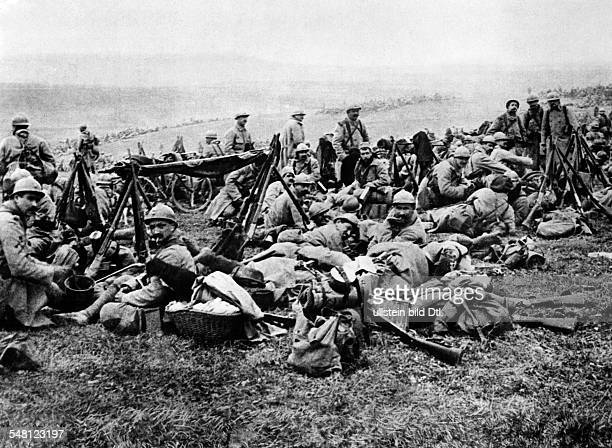 French infantry reserve unit camping in the rear area of the battlefield