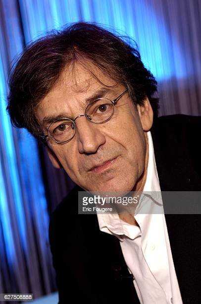 French intellectual author and essayist Alain Finkielkraut on the set of TV show 'Ce Soir Ou Jamais'