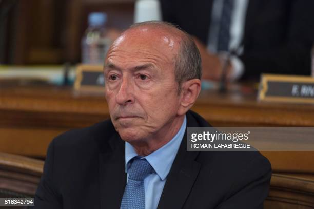 French Interior Minister and former Mayor of Lyon Gerard Collomb reacts during the city council in which the new Mayor of Lyon Georges Kepenekian was...
