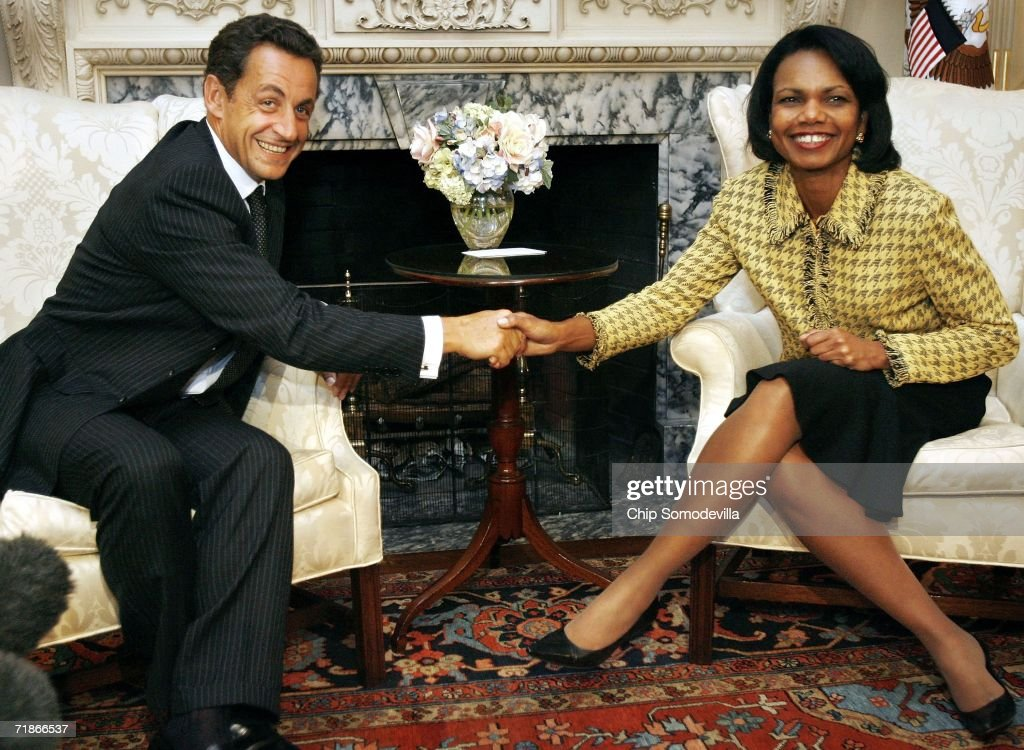 French Interior Minister and presidential hopeful Nicolas Sarkozy (L) shakes hands with U.S. Secretary of State Condoleezza Rice at the State Department September 12, 2006 in Washington, DC. This was one of several meetings that Sarkozy had in Washington with politicians, including President George W. Bush, Sen. Barack Obama (D-IL) and Sen. John McCain (R-AZ).