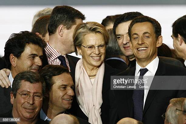 French Interior Minister and rightwing party Union for a Popular Movement president Nicolas Sarkozy and Michele AlliotMarie during the UMP congress...
