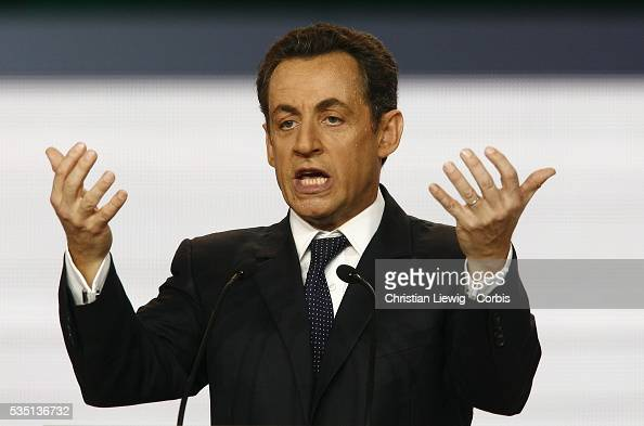 French Interior Minister and rightwing party Union for a Popular Movement president Nicolas Sarkozy gives a speech during the UMP congress after...