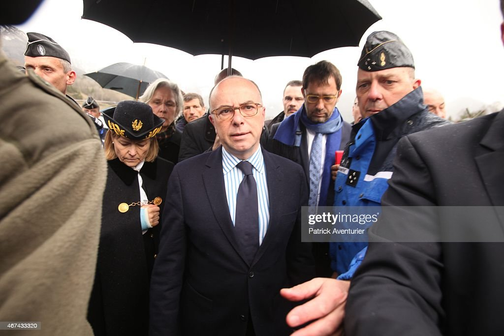 French Interior Minister <a gi-track='captionPersonalityLinkClicked' href=/galleries/search?phrase=Bernard+Cazeneuve&family=editorial&specificpeople=4205153 ng-click='$event.stopPropagation()'>Bernard Cazeneuve</a> arrives near the site of the Germanwings plane crash near the French Alps on March 24, 2015 in La Seyne les Alpes, France. A Germanwings Airbus A320 airliner with 150 people on board has crashed in the French Alps.