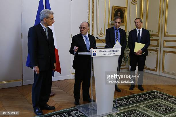French Interior Minister Bernard Cazeneuve holds a press conference with AlpesMaritimes region Prefect Adolphe Colrat AFA Insurance French...