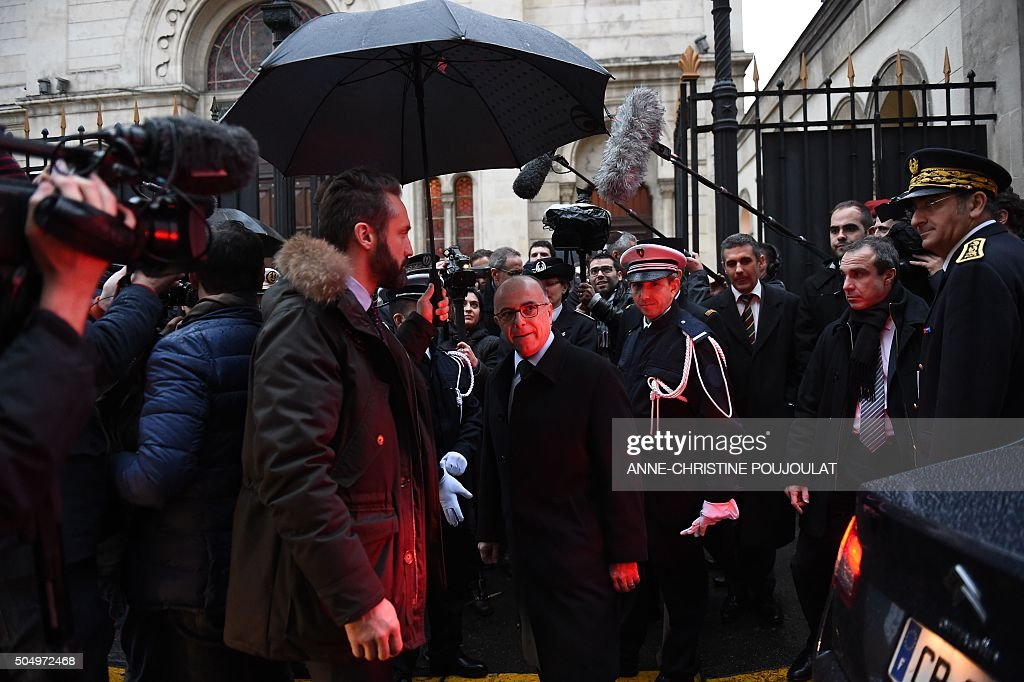 French Interior minister Bernard Cazeneuve leaves on January 14 2016 the main synagogue of Marseille southern France during a visit to the Jew...