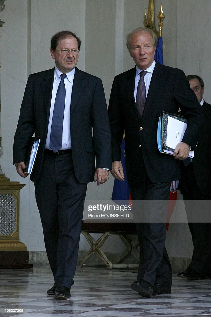 French Interior Minister <a gi-track='captionPersonalityLinkClicked' href=/galleries/search?phrase=Brice+Hortefeux&family=editorial&specificpeople=569881 ng-click='$event.stopPropagation()'>Brice Hortefeux</a> and French Junior Minister for Trade, Tourism, Consumer affairs and small Businesses <a gi-track='captionPersonalityLinkClicked' href=/galleries/search?phrase=Herve+Novelli&family=editorial&specificpeople=4345468 ng-click='$event.stopPropagation()'>Herve Novelli</a> in the weekly Council at Elysee Palace in Paris, France on October 20th , 2010.