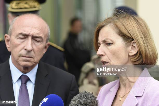 French Interior Minister Gerard Collomb and French Defence Minister Florence Parly talk to the press after meeting with soldiers wounded in an attack...