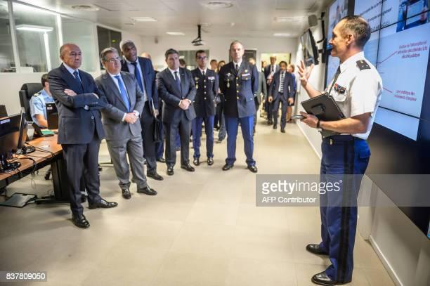 French Interior Minister Gerard Collomb and his Spanish counterpart Juan Ignacio Zoido Alvarez visit the command room of the French Gendarmerie...