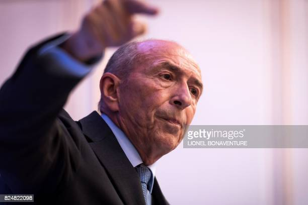 French Interior Minister Gerard Collomb gestures as he speaks during a press conference at his Ministry in Paris on July 31 2017 / AFP PHOTO / Lionel...
