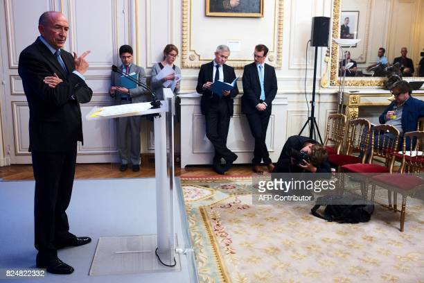 French Interior Minister Gerard Collomb gestures during a press conference at his Ministry in Paris on July 31 2017 / AFP PHOTO / LIONEL BONAVENTURE