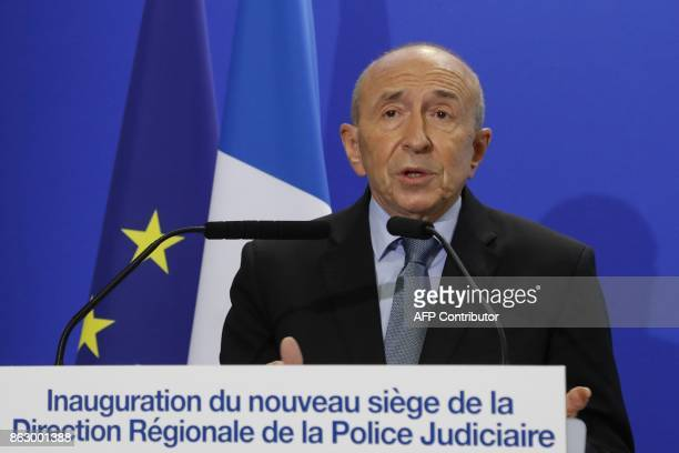 French Interior Minister Gerard Collomb gives a speech during the inauguration of the new Paris Judiciary Police headquarters aka 'Bastion' on...