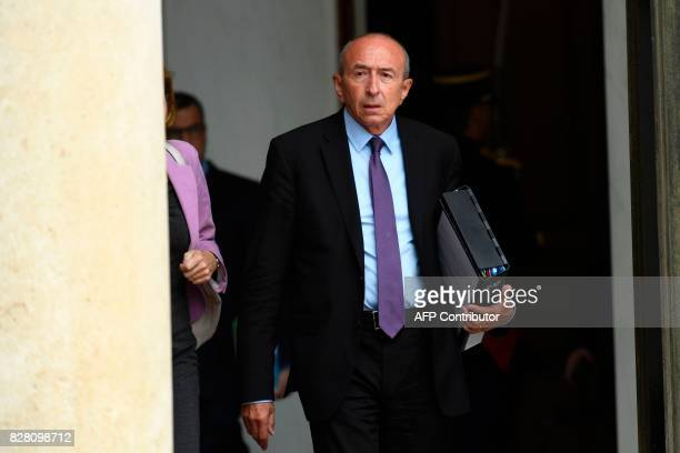 French Interior Minister Gerard Collomb leaves a cabinet meeting at the Elysee Palace on August 9 2017 in Paris / AFP PHOTO / bertrand GUAY