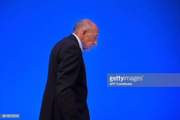 French Interior Minister Gerard Collomb leaves after a press conference at his Ministry in Paris on July 31 2017 / AFP PHOTO / Lionel BONAVENTURE