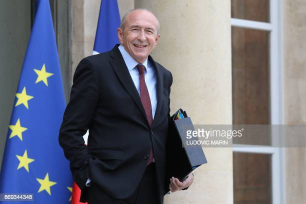 French Interior Minister Gerard Collomb leaves the Elysee Presidential Palace after the weekly cabinet meeting November 2 2017 in Paris / AFP PHOTO /...