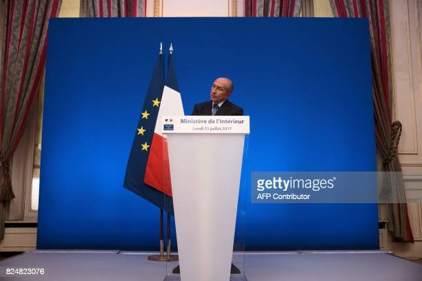 French Interior Minister Gerard Collomb looks on during a press conference at his Ministry in Paris on July 31 2017 / AFP PHOTO / LIONEL BONAVENTURE