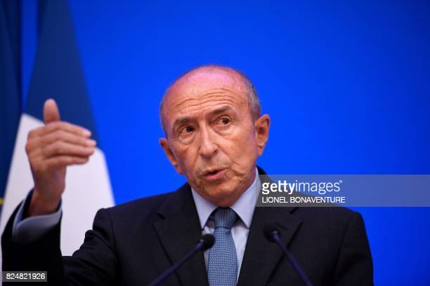 French Interior Minister Gerard Collomb speaks during a press conference at his Ministry in Paris on July 31 2017 / AFP PHOTO / Lionel BONAVENTURE