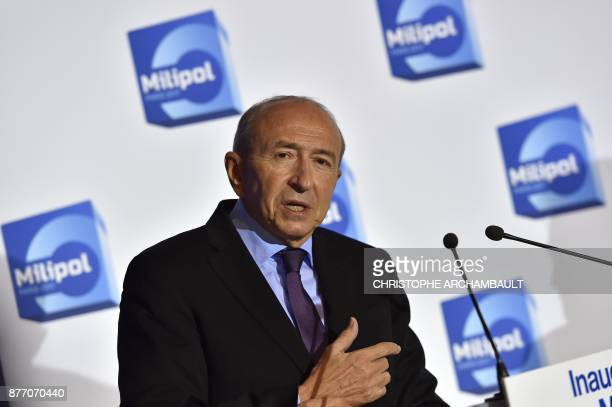 French Interior Minister Gerard Collomb speaks during the opening of the Milipol internal state security exhibition in Villepinte outside Paris on...