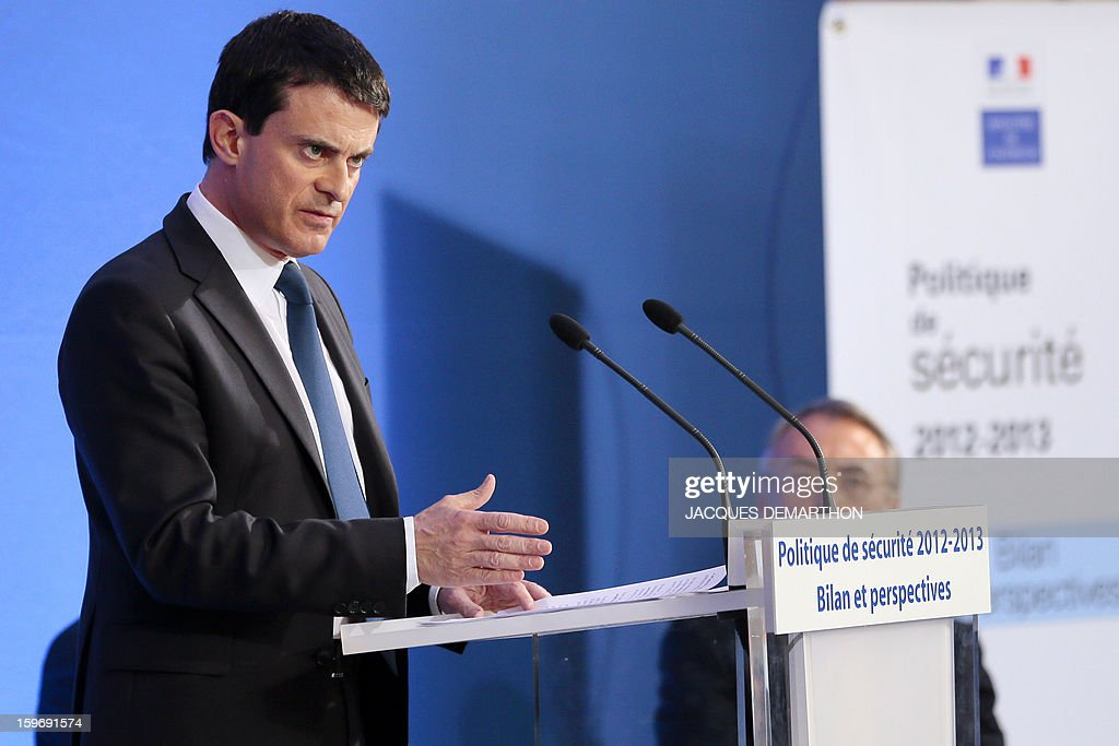 French Interior minister Manuel Valls delivers a speech on January 18, 2013 at the ministry in Paris, to present his report of the past year and the prospects of the security policy for the upcoming year.