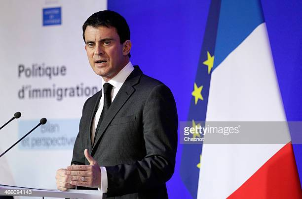 French Interior Minister Manuel Valls delivers a speech to the media on January 31 2014 in Paris France Manuel Valls holds a press conference on the...