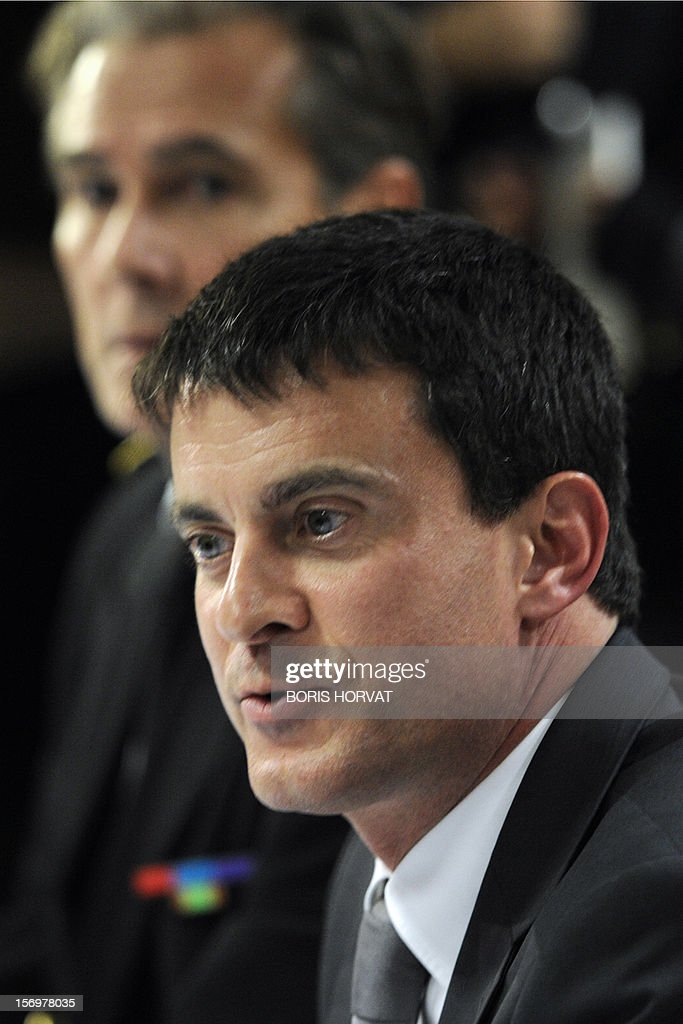 French Interior Minister Manuel Valls speaks during a meeting with local police representatives on November 26, 2012 in Marseille, southeastern France, after a 47-year old man was shot dead today by two unidentified people who stole his briefcase.
