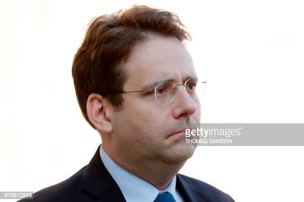 French Interior Minister Matthias Fekl leaves after a meeting of the Defense Council on April 21 2017 at the Elysee Palace in Paris after a gunman...