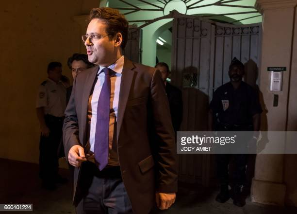 French Interior Minister Matthias Fekl leaves after holding a joint press conference with the French Overseas Territories Minister on March 29 2017...