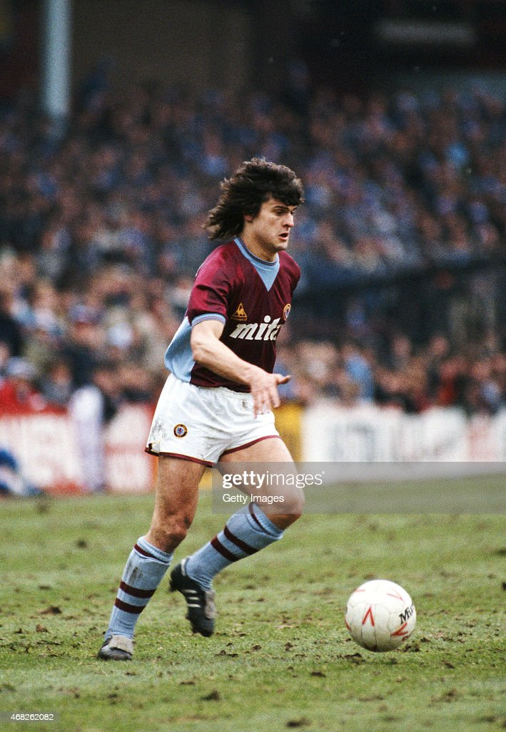 French International <a gi-track='captionPersonalityLinkClicked' href=/galleries/search?phrase=Didier+Six&family=editorial&specificpeople=2621013 ng-click='$event.stopPropagation()'>Didier Six</a> in action for Aston Villa during a Canon League Division One match against Everton at Villa Park on March 16, 1985 in Birmingham, England.