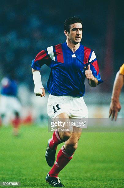 French international footballer Eric Cantona during the France vs Sweden FIFA World Cup qualifying match Parc des Princes Paris France 28th April 1993