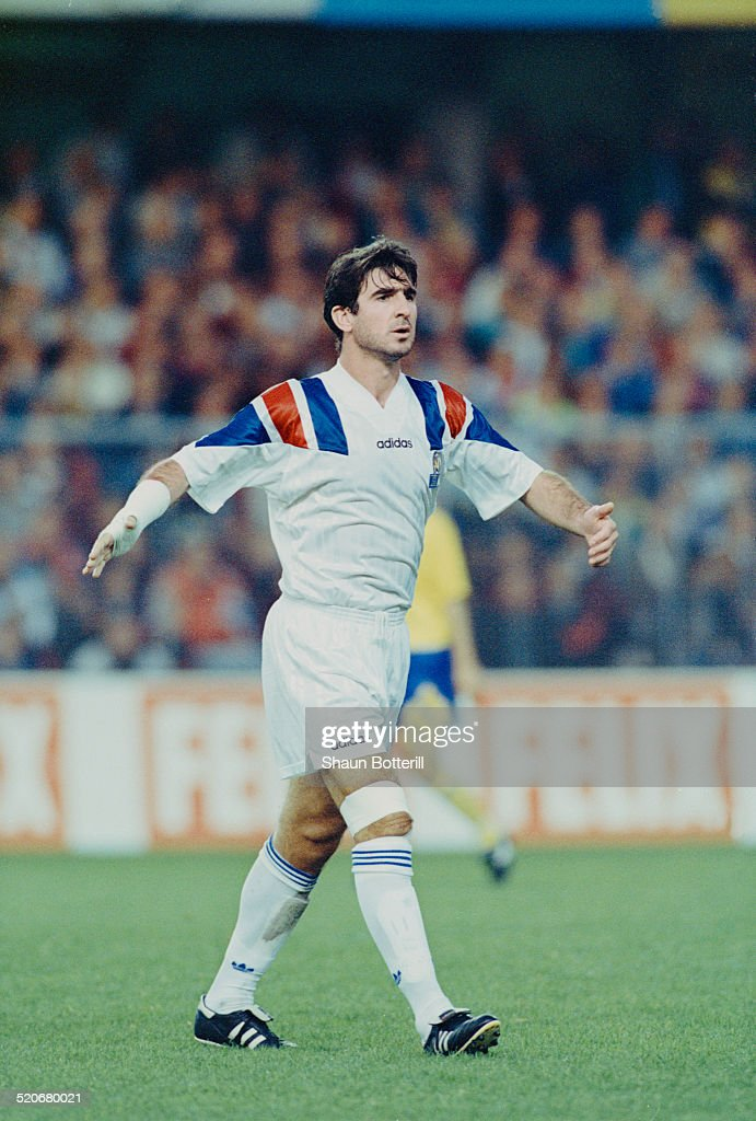 French international footballer <a gi-track='captionPersonalityLinkClicked' href=/galleries/search?phrase=Eric+Cantona&family=editorial&specificpeople=211325 ng-click='$event.stopPropagation()'>Eric Cantona</a> during the Sweden vs France FIFA World Cup qualifying match, Råsunda, Solna, Sweden, 22nd August 1993.