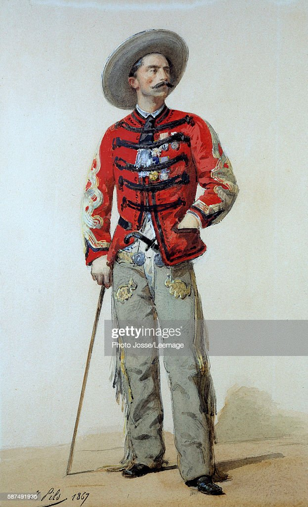 French Intervention in Mexico or FrancoMexican War fulllenght portrait of General Gaston Gallifet dressed in contre guerillero Mexico Watercolor by...