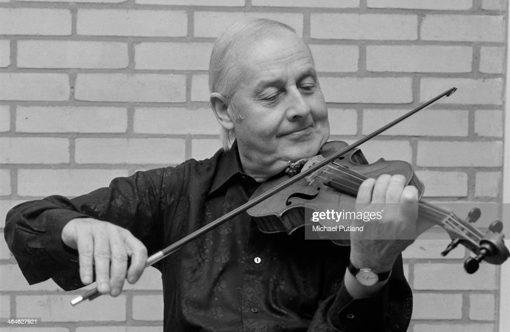French jazz violinist Stephane Grappelli (1908 - 1997) rehearsing for the Grand Gala in Amsterdam, Netherlands, 15th February 1974.