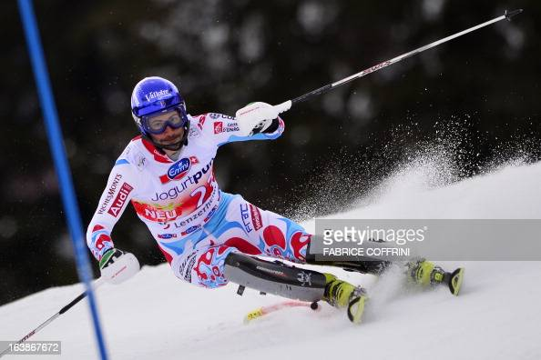 French JeanBaptriste Grange competes during the Men Slalom race at the Alpine ski World Cup finals on March 17 2013 in Lenzerheide AFP PHOTO /...