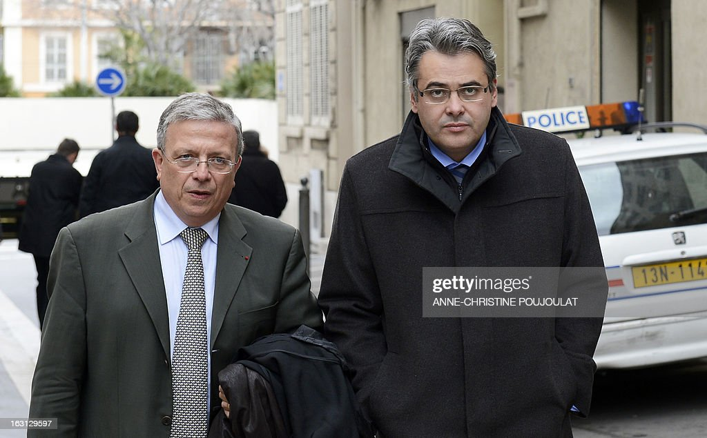 French Jean-David Ciot (R), former cabinet member of socialist President of the General Council of the French department Bouches-du-Rhone, flanked by his lawyer Gaetan di Marino, arrives on March 5, 2013 at Marseille's courthouse, prior to a hearing as part of investigations in a case of his alleged unfair dismissal. Ciot was elected member of the Parliament in 2012 and is current First Secretary of the Socialist Party (PS) federation of the Bouches-du-Rhone.