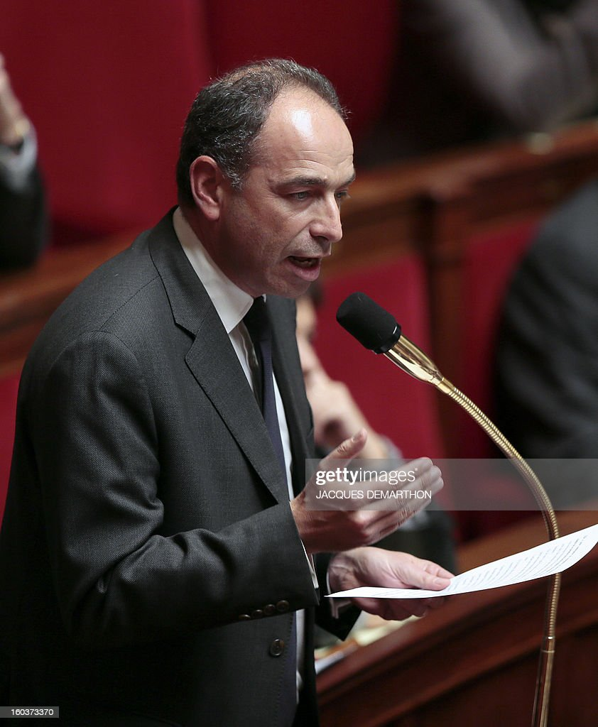 French Jean-Francois Cope, head of France's right-wing UMP opposition party, speaks during a session of questions to the government at the National Assembly on January 30, 2013 in Paris.