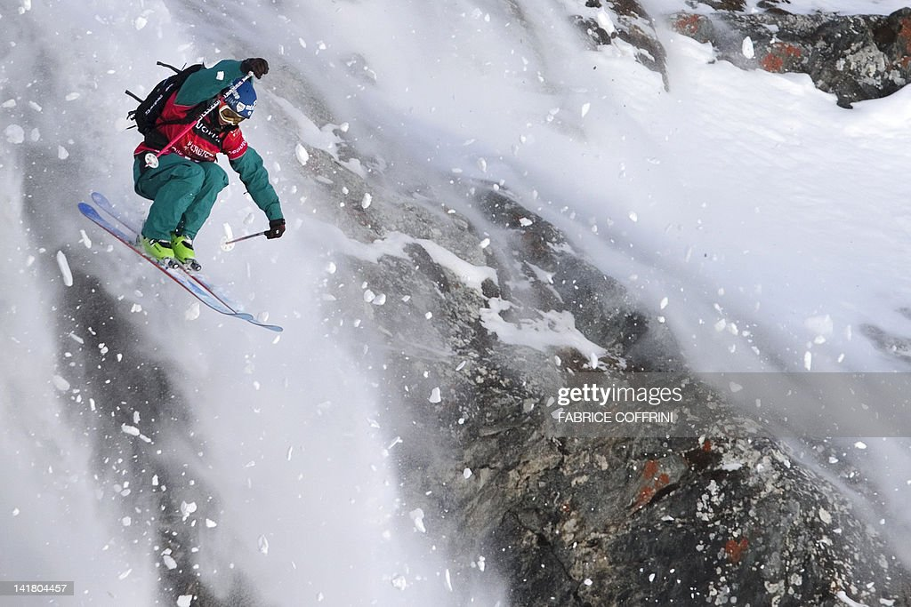 French Jeremy Prevost competes on the Bec de Rosses mountain during the Xtreme Freeride World Tour final on March 24, 2012 above the Swiss Alps resort of Verbier. AFP PHOTO/ FABRICE COFFRINI